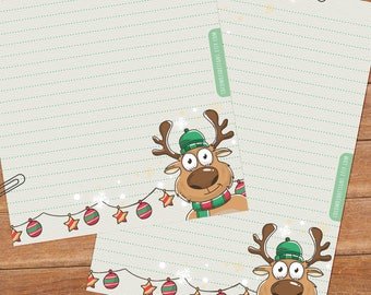 Christmas reindeer - DOWNLOAD file - Printable Writing paper - A5 size