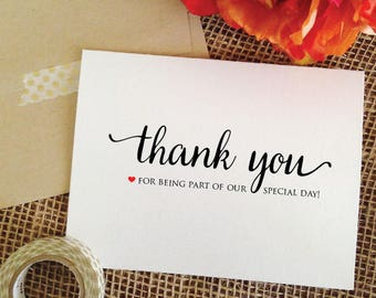 Thank You Cards Wedding thank you for being part of our special day card wedding stationery thank you cards set