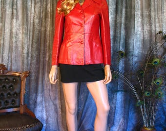 Vintage 1970s Leather Jacket / Vintage 70s Red Leather Jacket / Western Style Jacket