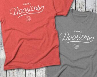 INDIANA HOOSIERS RETRO Basketball Tee -- Indiana Basketball T-Shirt, Distressed Tee