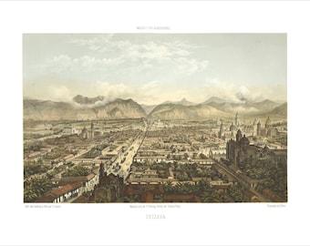 "Orizaba, Veracruz 1869 Panoramic Bird's Eye View Map by C. Castro 22x17"" Reproduction"