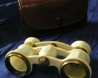 Vintage  milk white color opera glasses,with leather sheath.