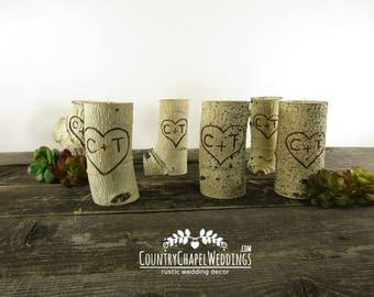 6 Personalized Log Candle Holders ~ Custom Wedding Candles, Rustic Wedding Candles, Wedding Table Centerpiece, Log Candle Holder ~
