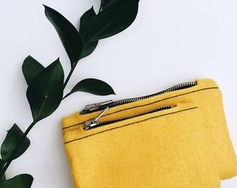 felt small zipper pouch, pale yellow zipper pouch felt, felt small coin purse, small coin purse felt, small zipper case, small coin pouch