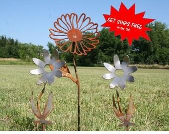 Garden stake set, Gardener gift set, Metal Flower, Set of flowers, Daisy stake, Farm and garden, Landscape Set, Mixed Garden Stakes