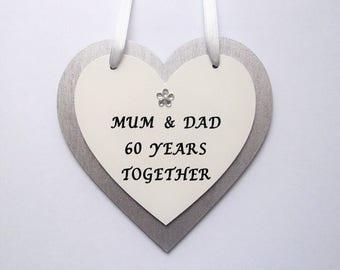 Personalised 60th Diamond wedding anniversary gift, Wooden heart, keepsake, plaque