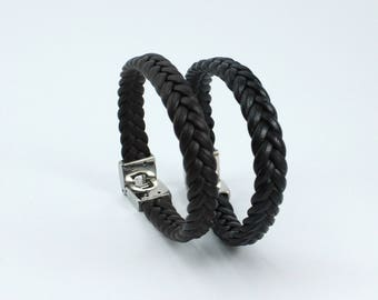 Real Black and Brown Braided Leather Bracelet Custom Size