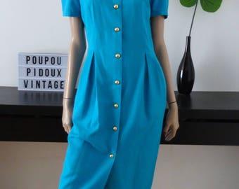 Robe vintage STELIO SACALIS bleu turquoise taille 38 - uk 10 - us 6