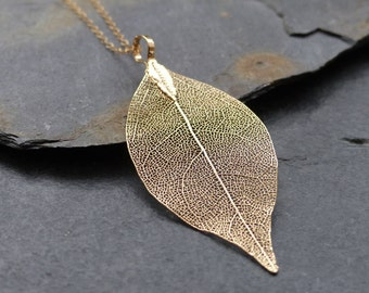 Real leaf necklace, 18K gold dipped leaf, dainty 14K gold filled chain, natural woodland jewelry, wedding jewelry, bridesmaid gift