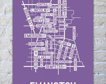 Evanston Illinois Street Map Screen Print College Town Maps