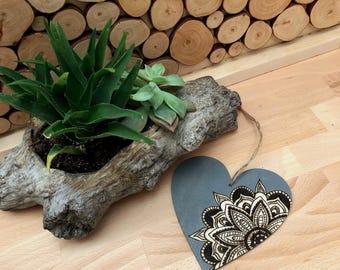 Mandala Heart Woodburning Ornament