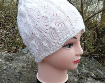 Custom handknitted beanies hats for women White wool hats Slouchy beanie Knit accessories Gift for her
