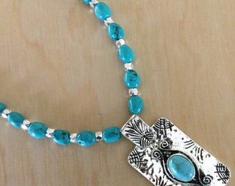 Genuine Turquoise Necklace with Pendant