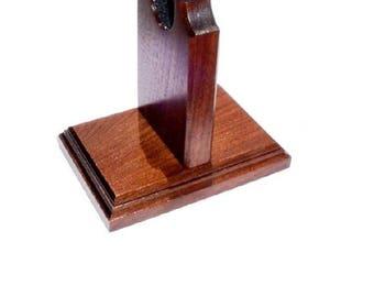 Walnut Wood Gun Rack Revolver Handgun Pistol Stand Table Display - Choice of Base