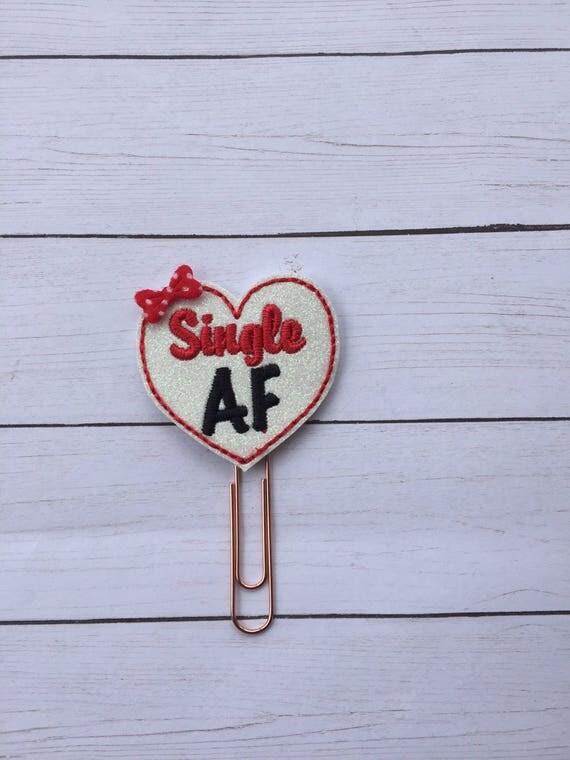 Single AF Glitter Heart planner Clip/Planner Clip/Bookmark. Heart Planner Clip. Anti-Valentine Planner Clip. Galentine Planner Clip