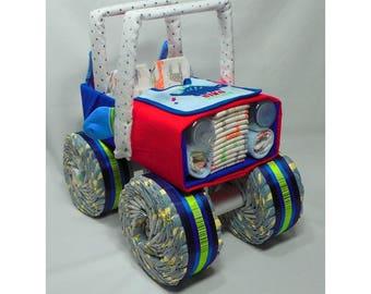 Jeep Diaper Cake - Baby Gift - Diaper Cake - Baby Shower Centerpiece - Gift Centerpiece - Baby Shower Decor