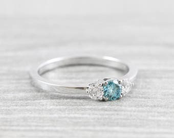 Blue diamond engagement ring 3 stone diamond ring handmade in 18 carat gold for her