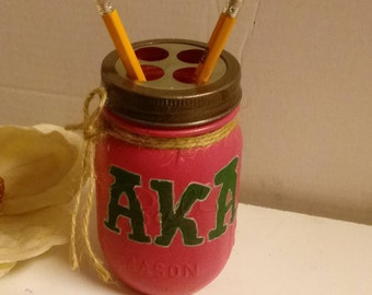 AKA Sorority, Home Office, Office Decor, Pencil Holder, Desk Set,