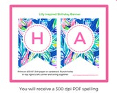 Lilly Pulitzer Print Birthday Party Banner-Lilly Inspired Printable Happy Birthday Hanging Flag Banner - Birthday Banner - INSTANT DOWNLOAD