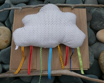 cloud mobile, mobile, cloud, red ribbons cushion pillow yellow blue green, pillow, kids cloud pillow, bedroom