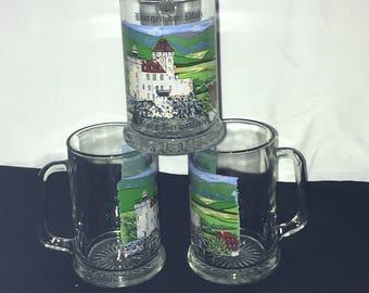 Burgen Der Pfalz Glass Beer 16 oz Stein Mug Burg Berwarstein Set of 3 Made Italy
