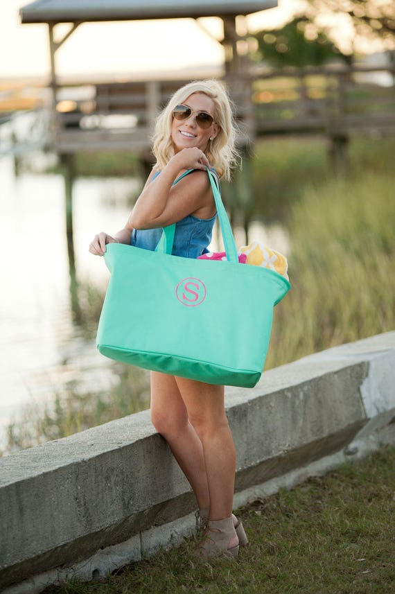 SALE - Large Mint Monogrammed Tote