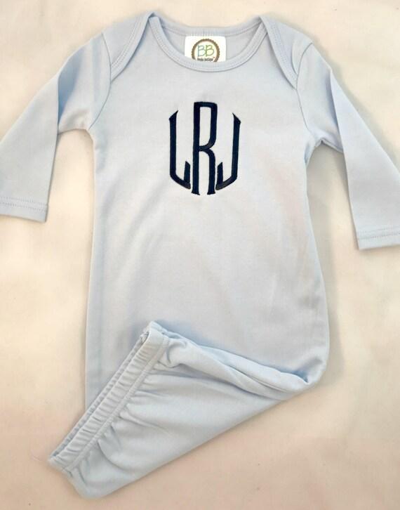 Monogrammed Boy Baby Gown