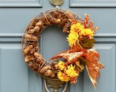 Fall Pinecone Wreath , Pinecone Thanksgiving Wreath , Copper Chicken Wire ,Chicken Wire Wreath , Rustic Farmhouse Decor , Wreath Obsessed