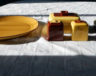 Retro Yellow and Brown Serving Pieces - Metlox Platter, Boiled Egg Holder, Sugar/Cinnamon Shakers and Small Covered Dish - Vintage Kitchen