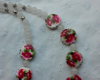 Pink Flower Shell Bead Necklace, Pink Necklace,Shell Necklace, Quartzite Necklace, Womens