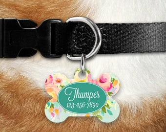Custom Pet Tag, Floral Pet, Personalized Pet Tag, Personalized Pet ID, Custom Pet Tag, Pet Tag ID, Floral Watercolor Pet Tag, Dog Collar Tag
