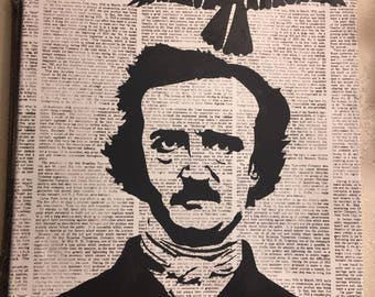 Edgar Allan Poe Raven Nevermore Painting on Canvas