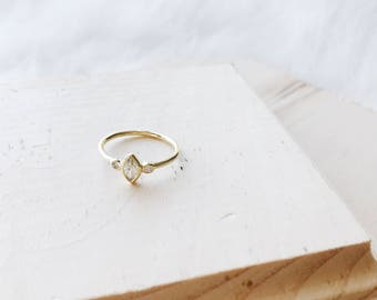 14K Gold Filled Marquise Oval CZ Sterling Silver Ring