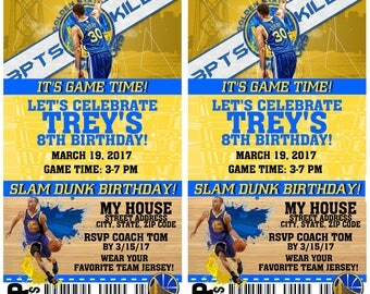 12 PER PACK Birthday Party Invitations Golden State Warriors Birthday Ticket NBA Basketball Weddings Baby Showers Bar Mitzvahs Stephen Curry
