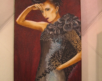"acrylic, portrait painting ""beautiful night"" couture, black dress"
