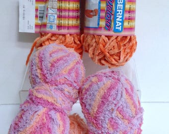Chunky Yarn Bundle Bernat Orange Velour Assorted Pink Orange Violet Thick Red Heart Buttercup Terry-Style for Knitting or Fiber Art Supply