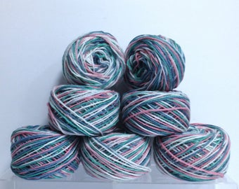 Red Heart Yarn Bundle Cottage Garden Variegated Yarn Destash Vintage Yarn Cakes for Knitting or Crocheting or Unfinished Yarn Projects