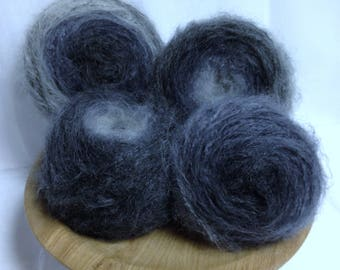 More Salt & Pepper Mohair Gray Blend Yarn Cakes, Fine Grey White Black Yarn Blend for Knitting Accessories, Fiber Art Yarn or Weaving Yarn