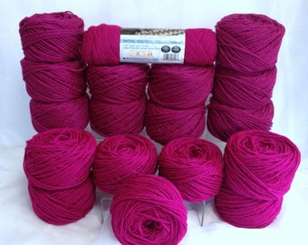 Blazing Magenta Yarn Cakes, Bright Acrylic Yarn Bundles, Yarn for Knitting Crocheting and Fiber Arts, Light Worsted Weight Yarn