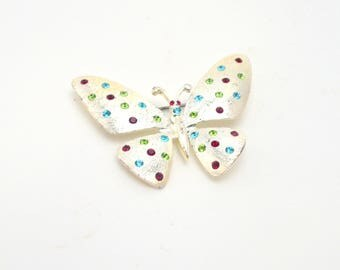 Vintage Butterfly Brooch, Colorful Rhinestone Brooch, Novelty Pin Costume Jewelry, circa 1980s