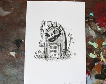 "Grave Plot 19 ""Fear your god"" - 5"" x 7"" mini - print"