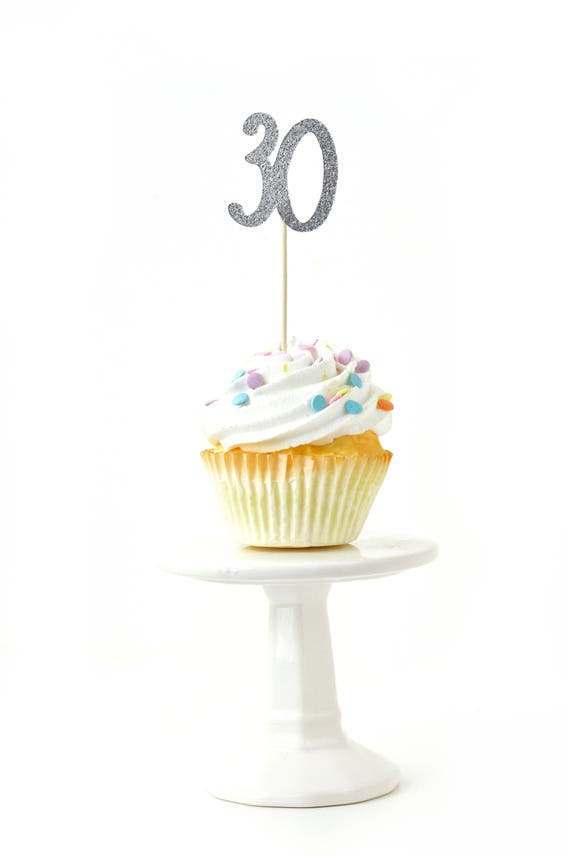 Number 30 Silver Glitter Cupcake Toppers, Number 30 Toothpicks Silver Party Decor Food Decoration Thirtieth, 30th Birthday, Dirty Thirty