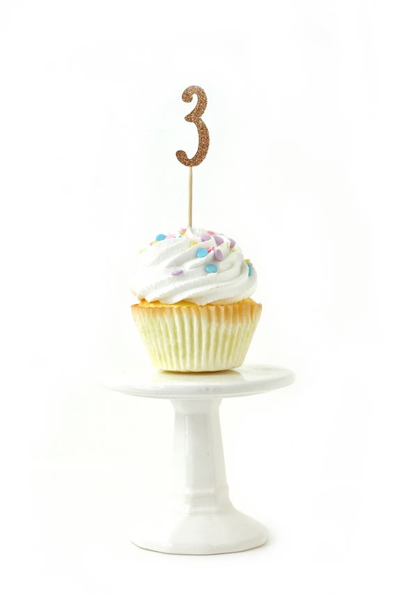 Number 3 Rose Gold Glitter Cupcake Toppers, Number 3 Toothpicks, Rose Gold Party Decor, Food Decoration, Third Birthday 3rd Birthday Three