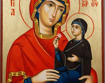 Saint St Anne Anna Hand-Painted Byzantine Eastern Orthodox Icon on Wood