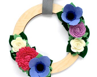 READY TO SHIP Felt Flower Wreath - Fall Wreath - Front Door Decoration