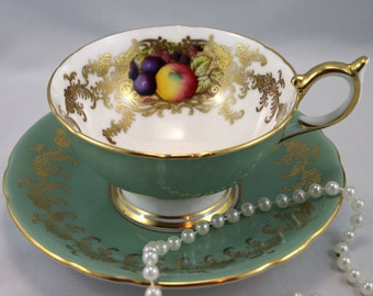 Aynsley Footed Teacup & Saucer, Fruit Orchard Pattern, Wide Mouth, Hunter Green Gilded Borders, Bone English China made in 1960s