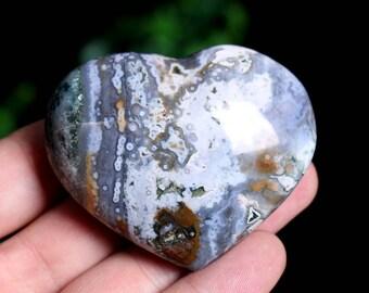 Natural Ocean Jasper Heart, Crystal Heart Healing J918