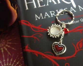 Red Heart Keychain, Picture Frame, Swarovski Crystals, Keepsake, Queen, Wonderland, Heartless, Wire Wrapped, Cath, Alice, Retelling, Villain