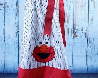 Girls Pillow case dress toddler pillow case dress  Elmo applique dress  Elmo Birthday dress  toddle dress baby dress Elmo dress
