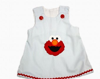 Girls Elmo A-line dress toddler Elmo A-line dress dress with Elmo Sesame Street applique dress Girl birthday dress